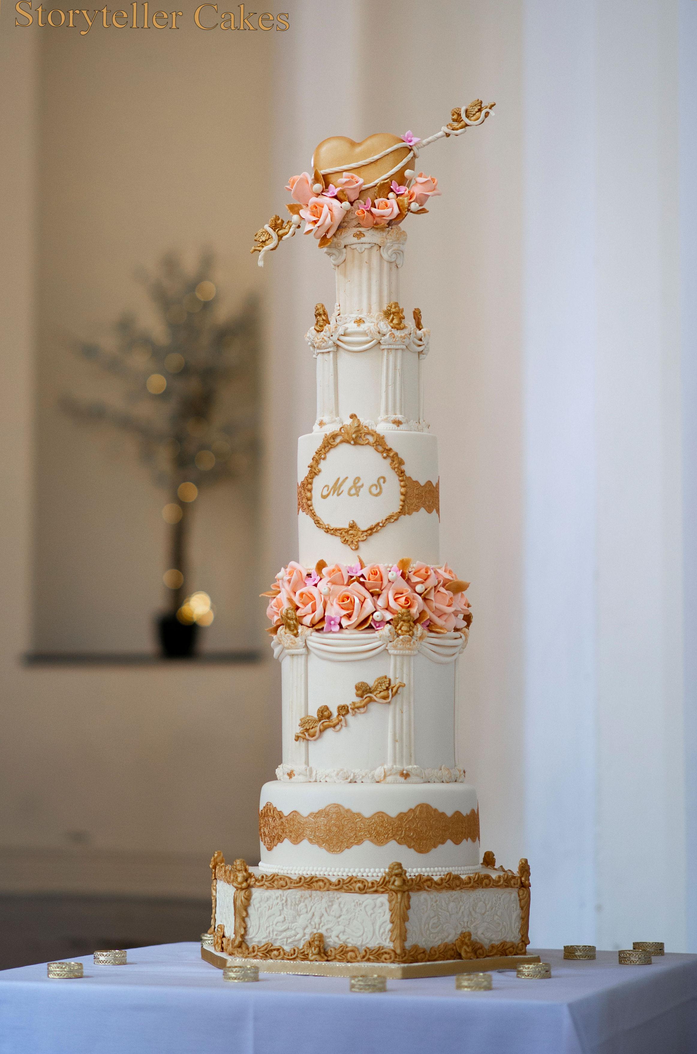 Cherub Floral grecian wedding cake