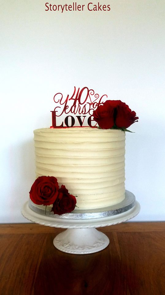 buttercream ruffle red rose 40th anniversary cake