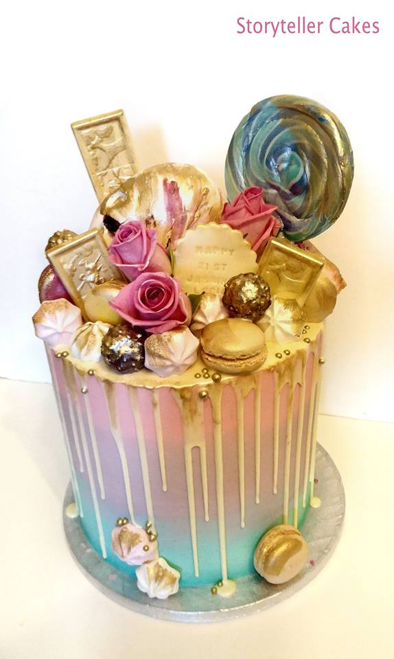 mutli colour buttercream drippy birthday cake