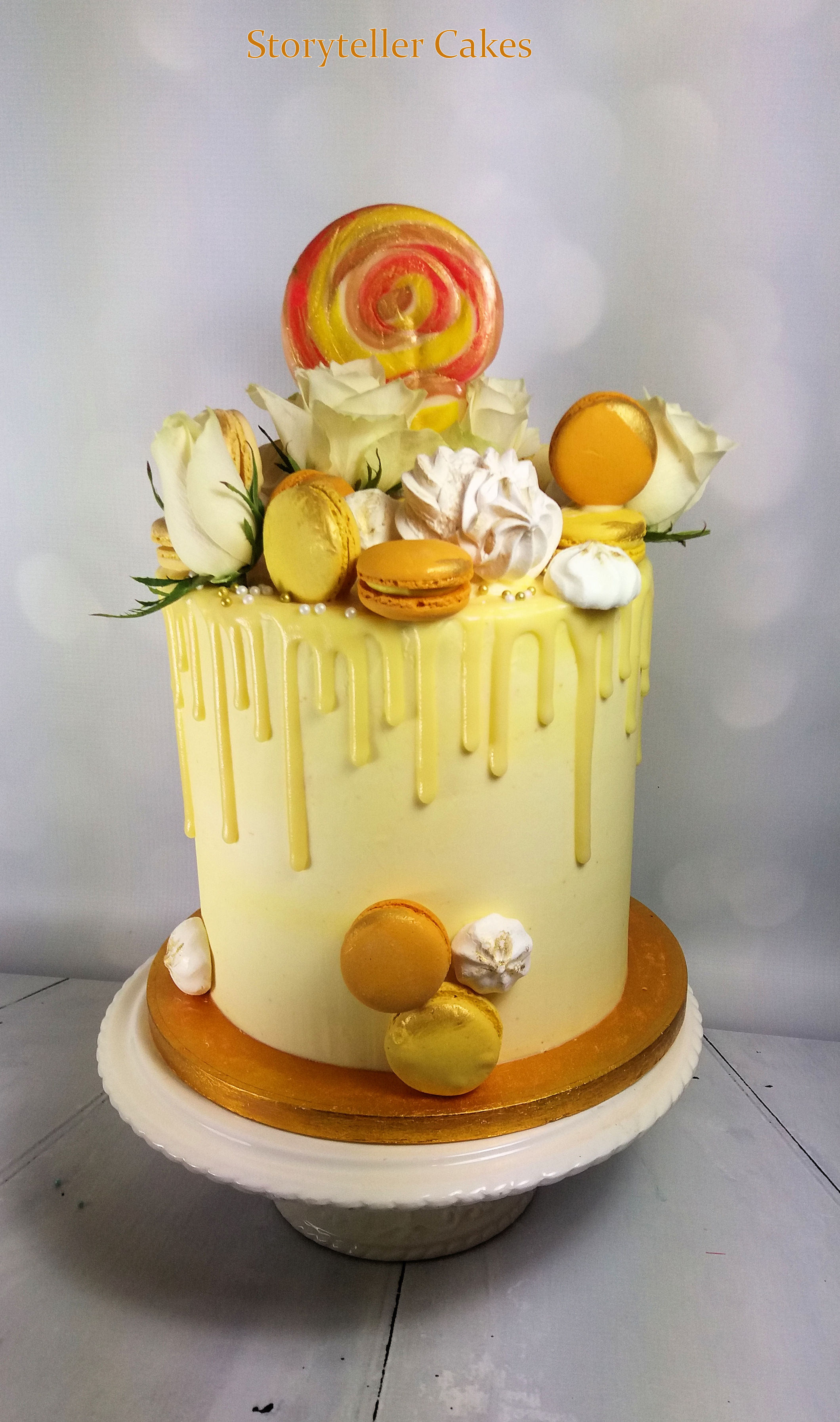 lemon and peach bttercream drip celebration birthday cake