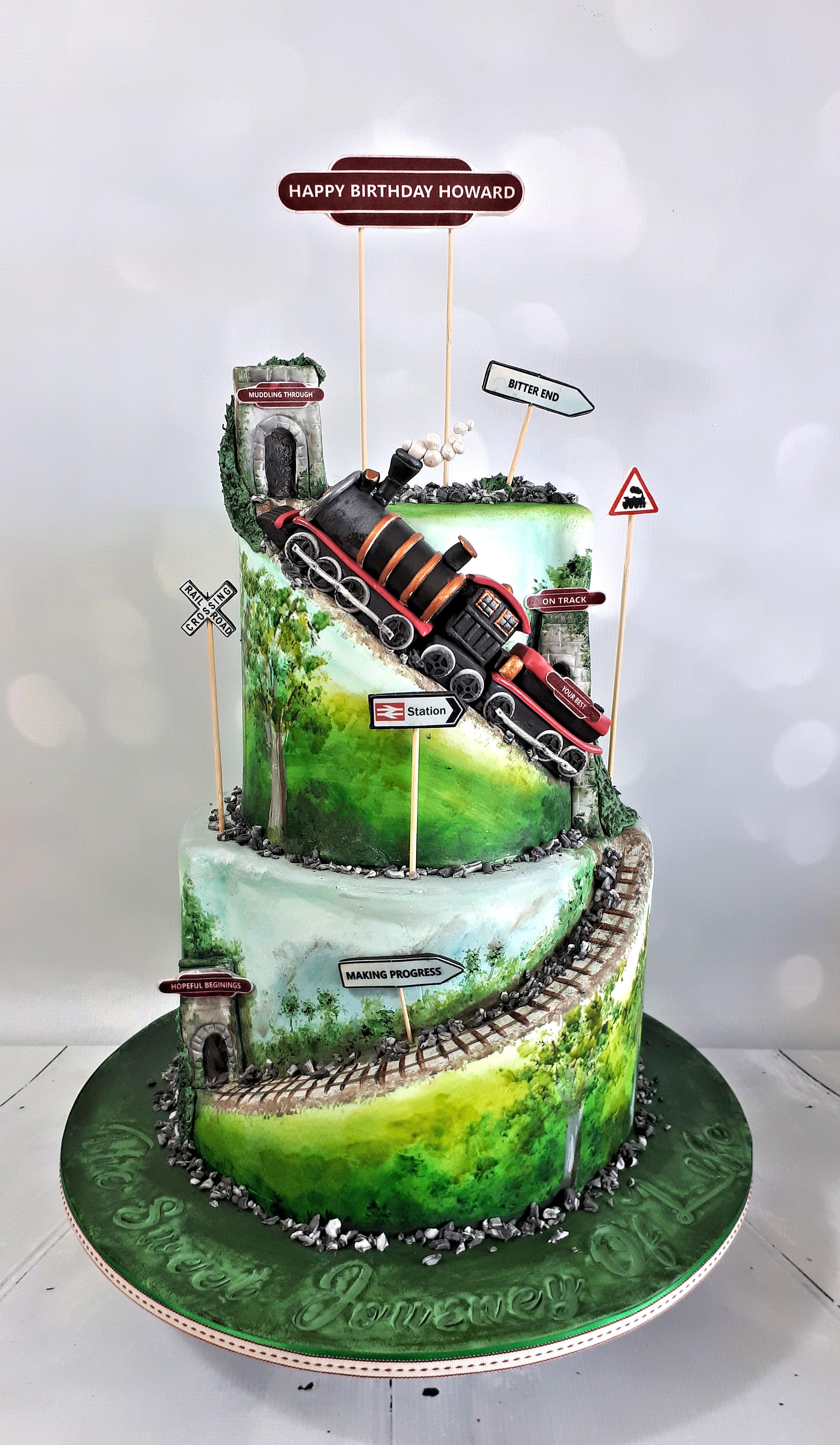 Train track countryside cake