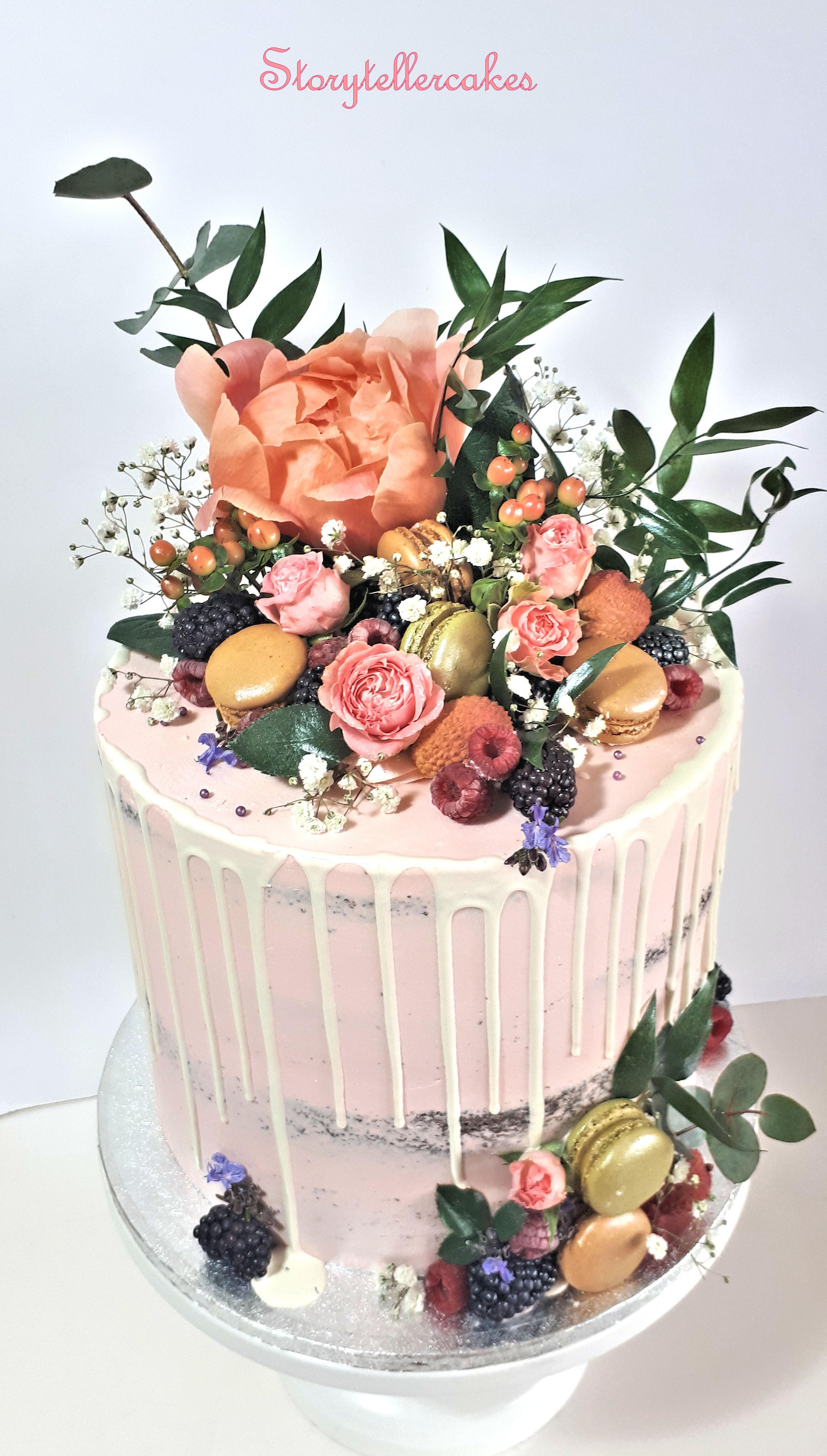 beautiful semi naked fresh flower birthday cake