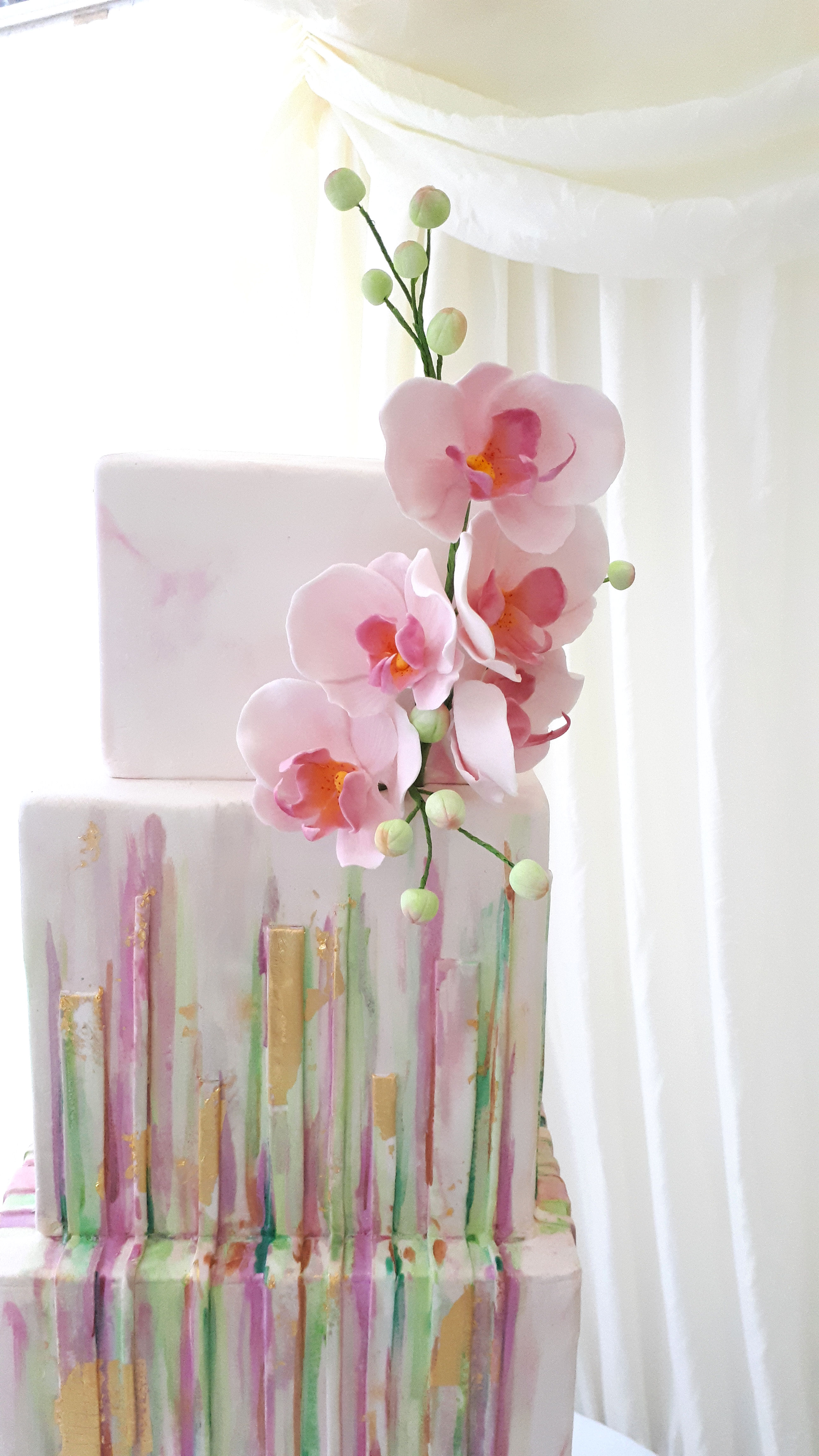 square hand painted orchid wedding cake