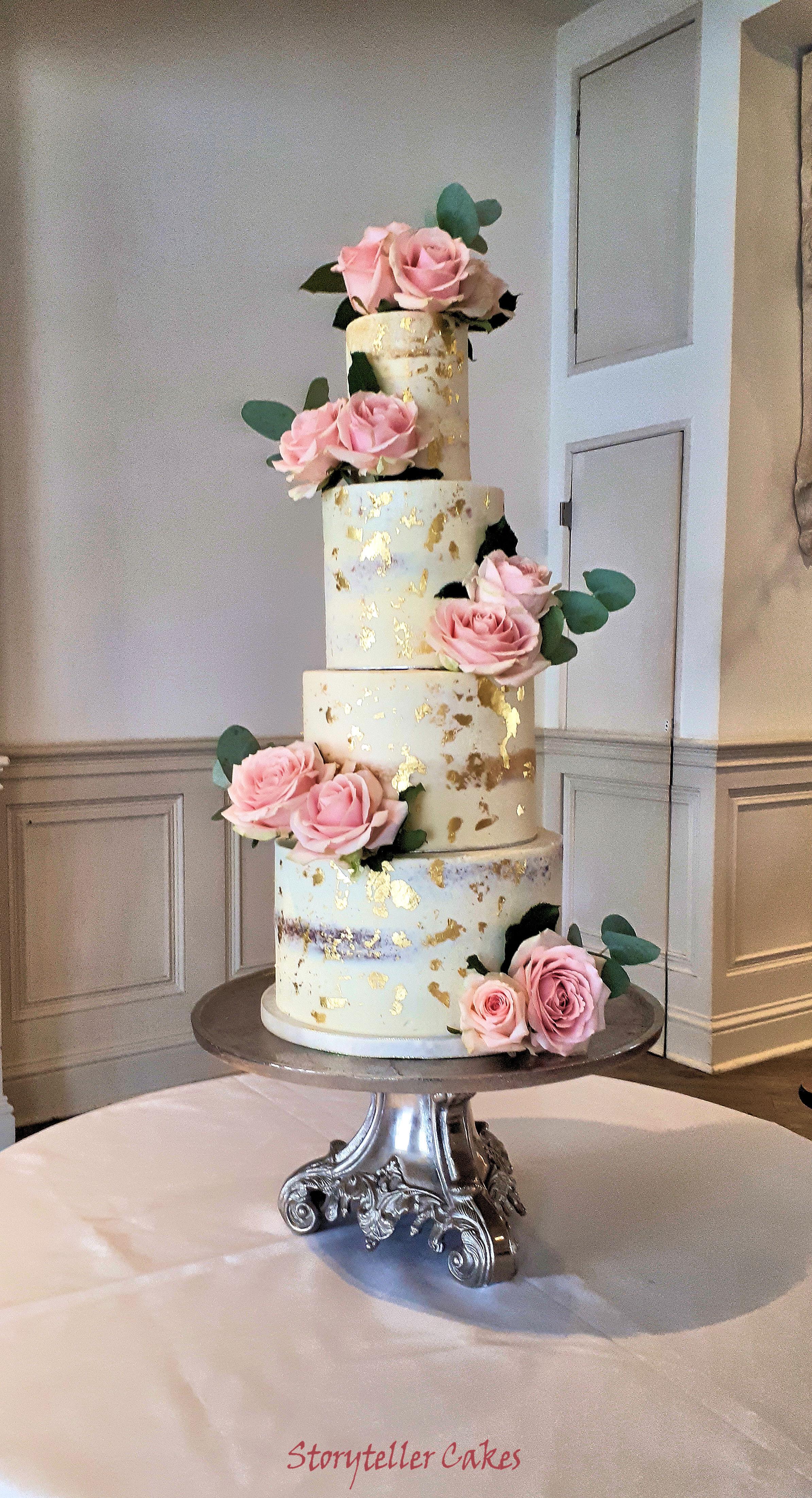 dusky blush pink and gold semi naked wedding cake