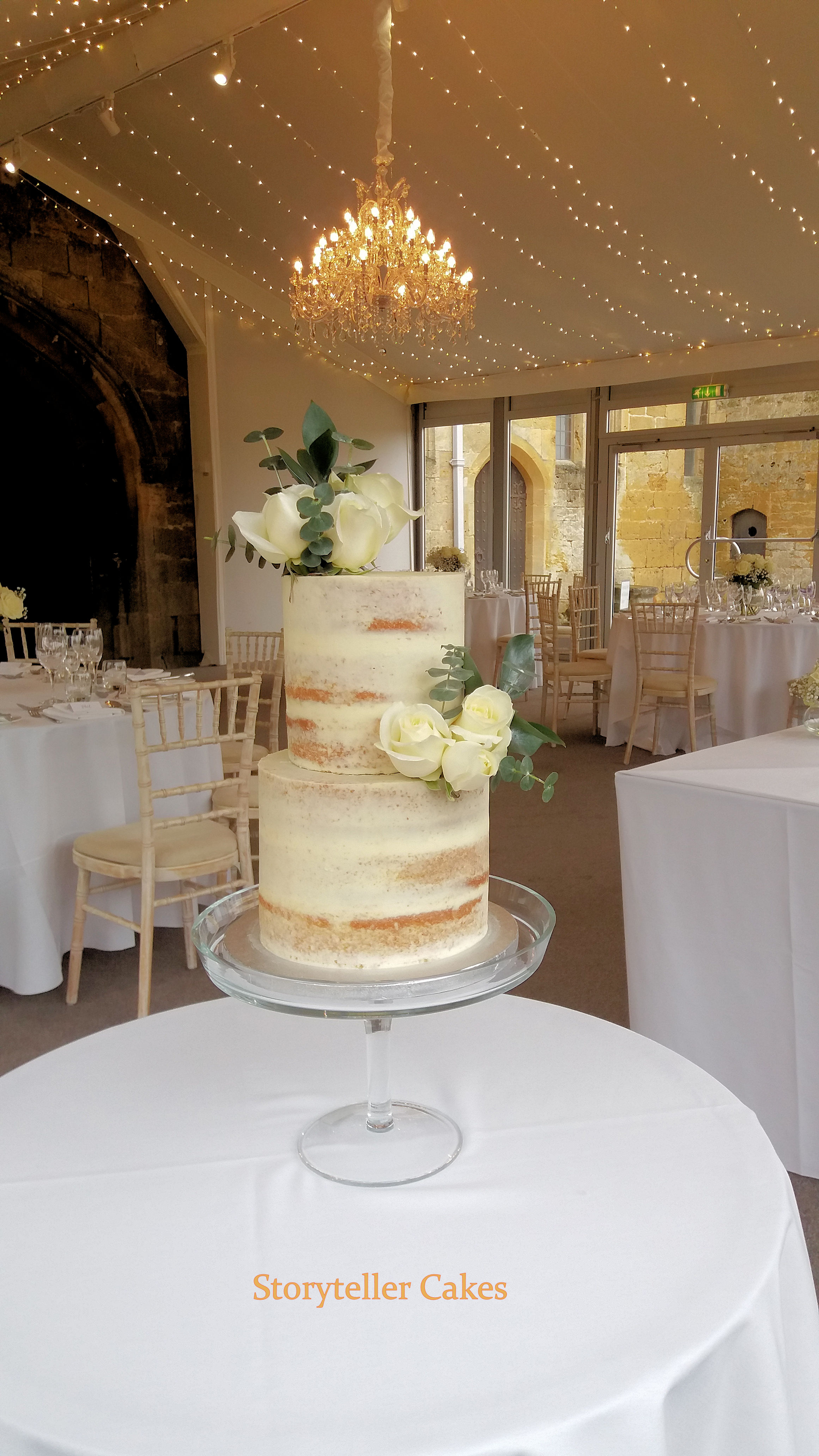 semi naked white wedding cake