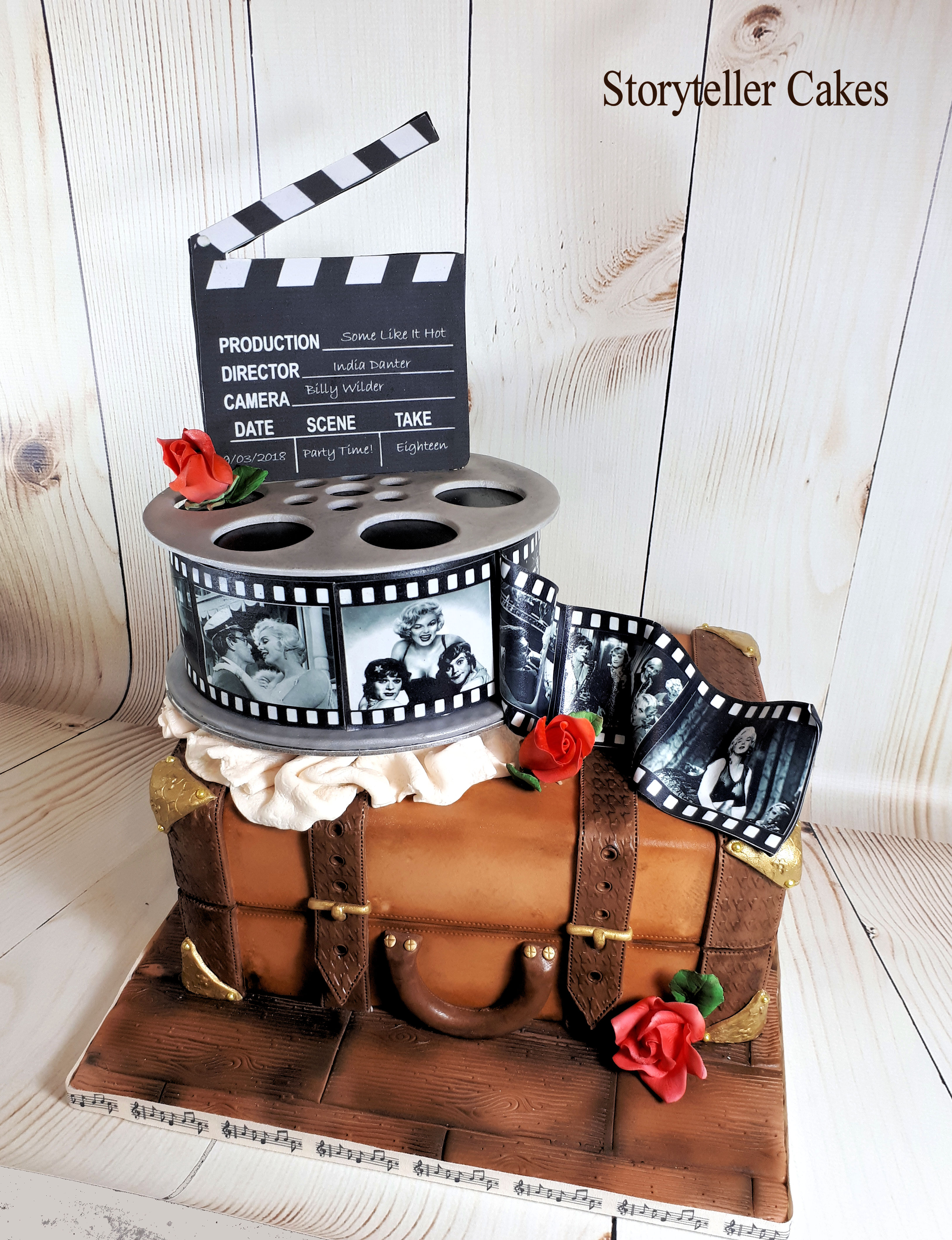vintyage suitcase and film cake