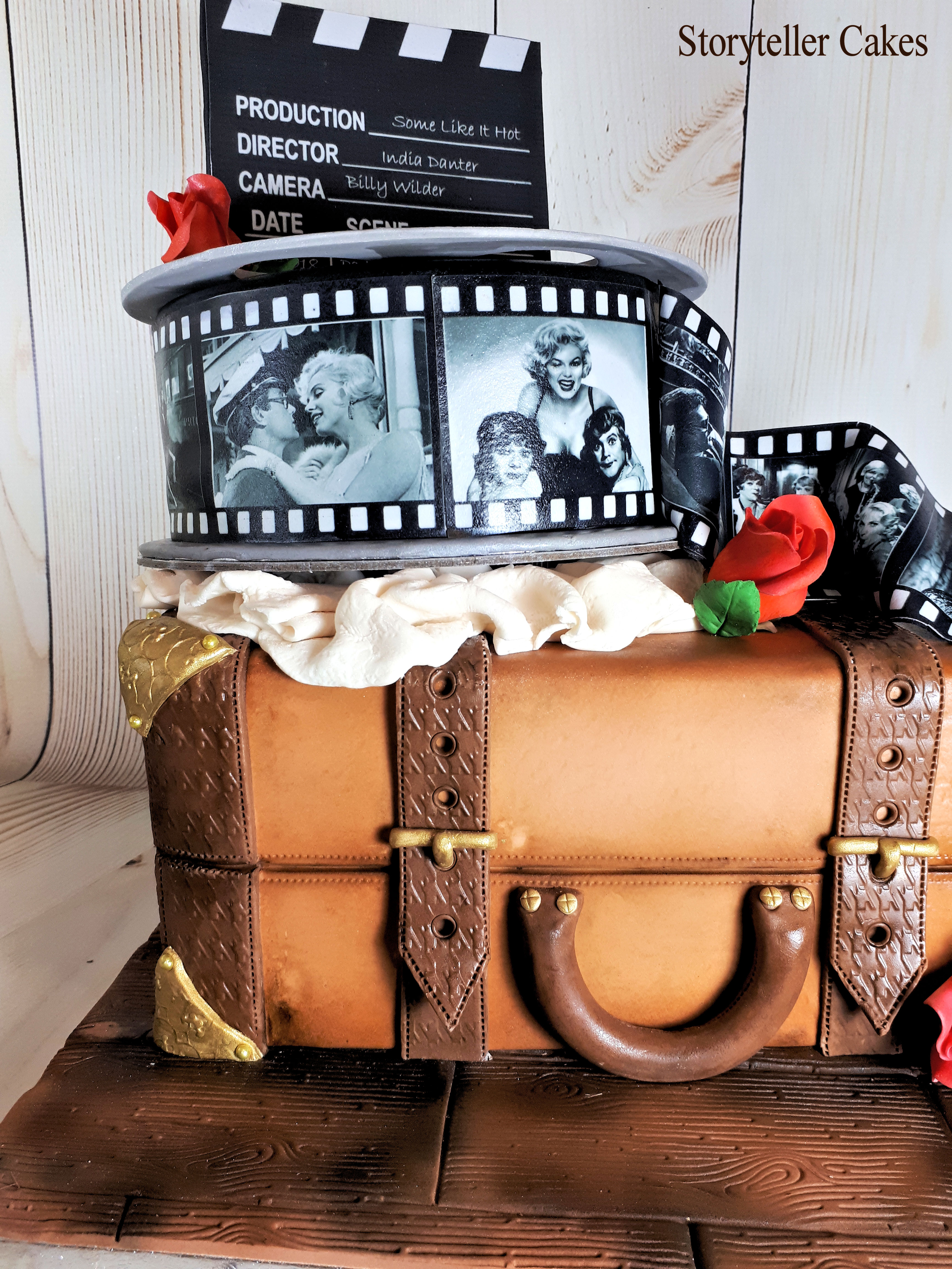 vintage suitcase and film birthday cake