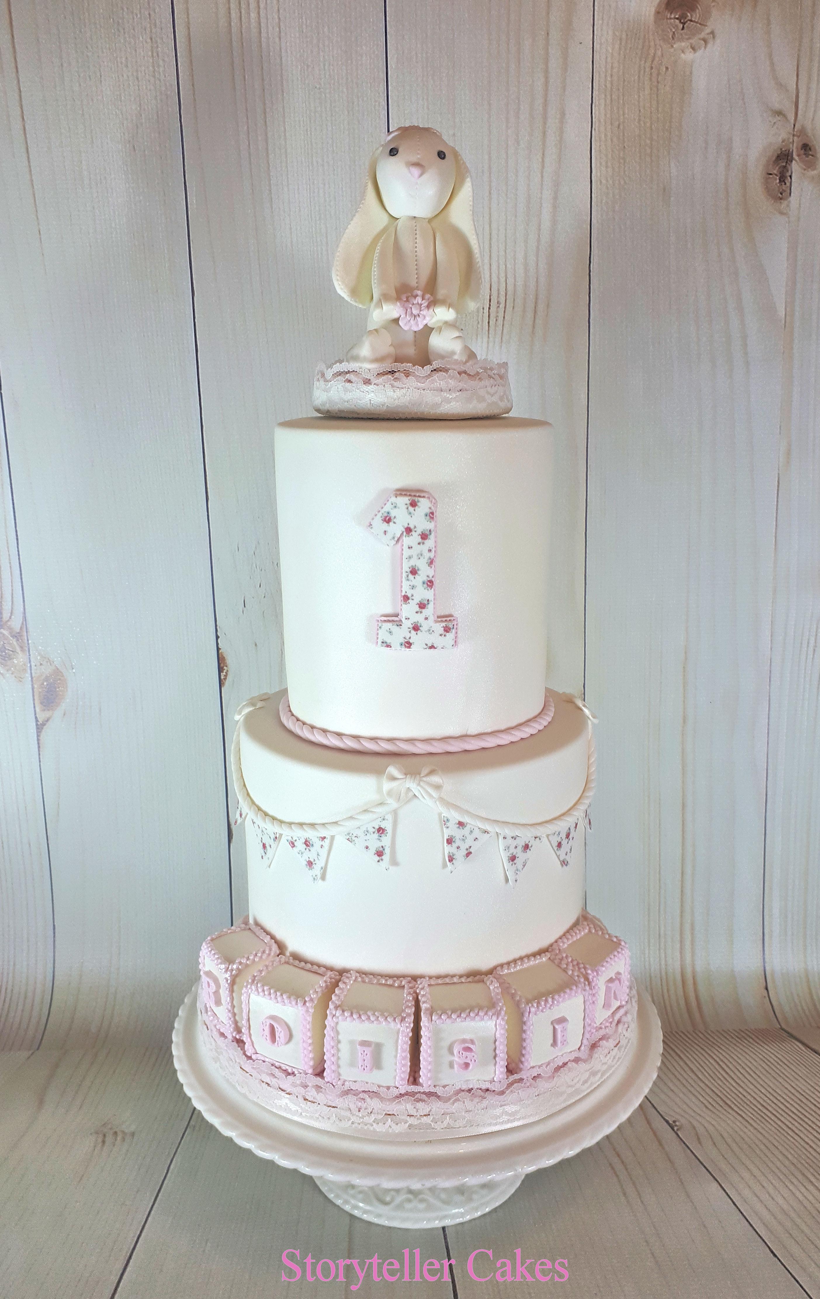 girls bunny 1st birthday cake