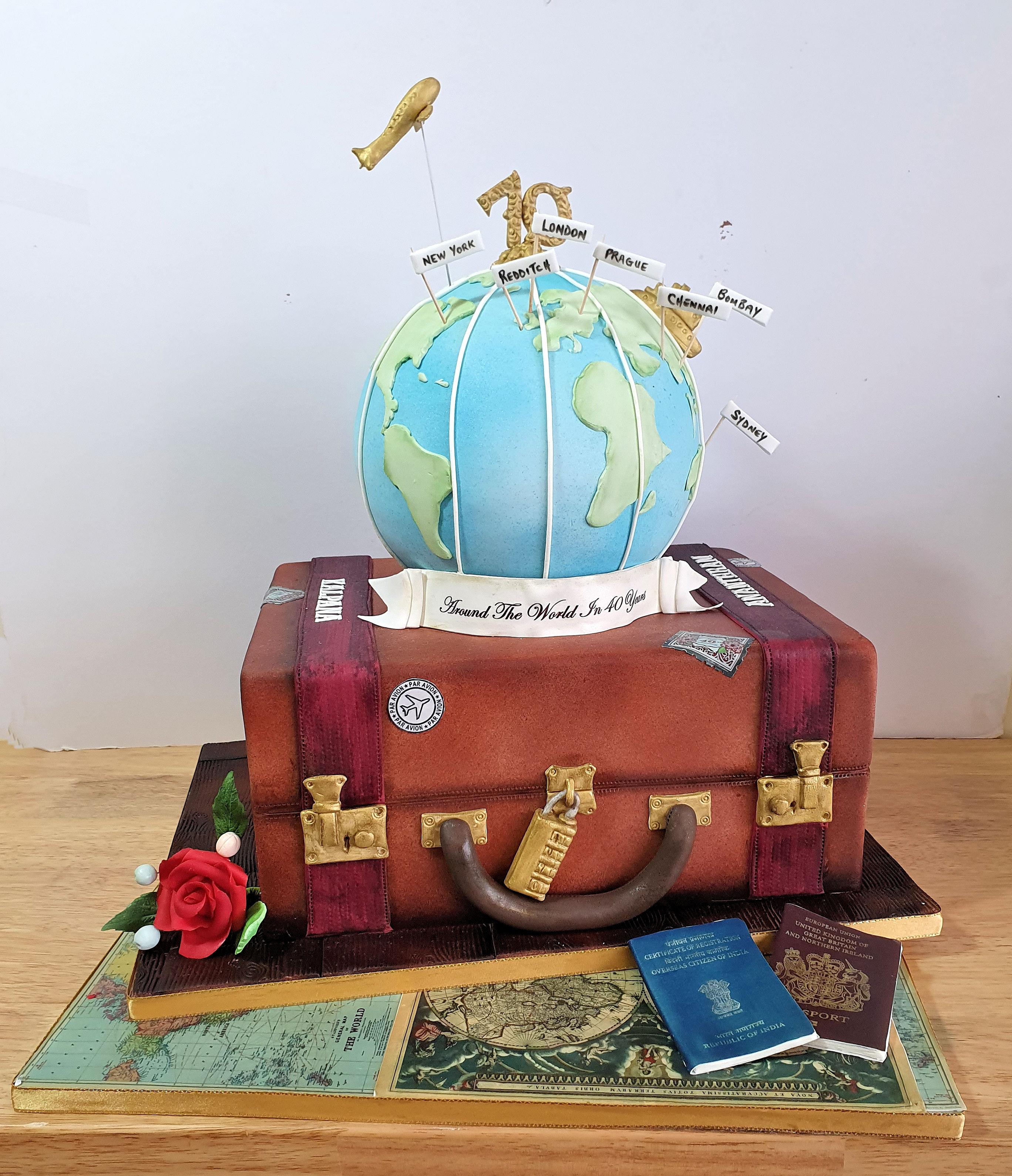 globe suitcase cake