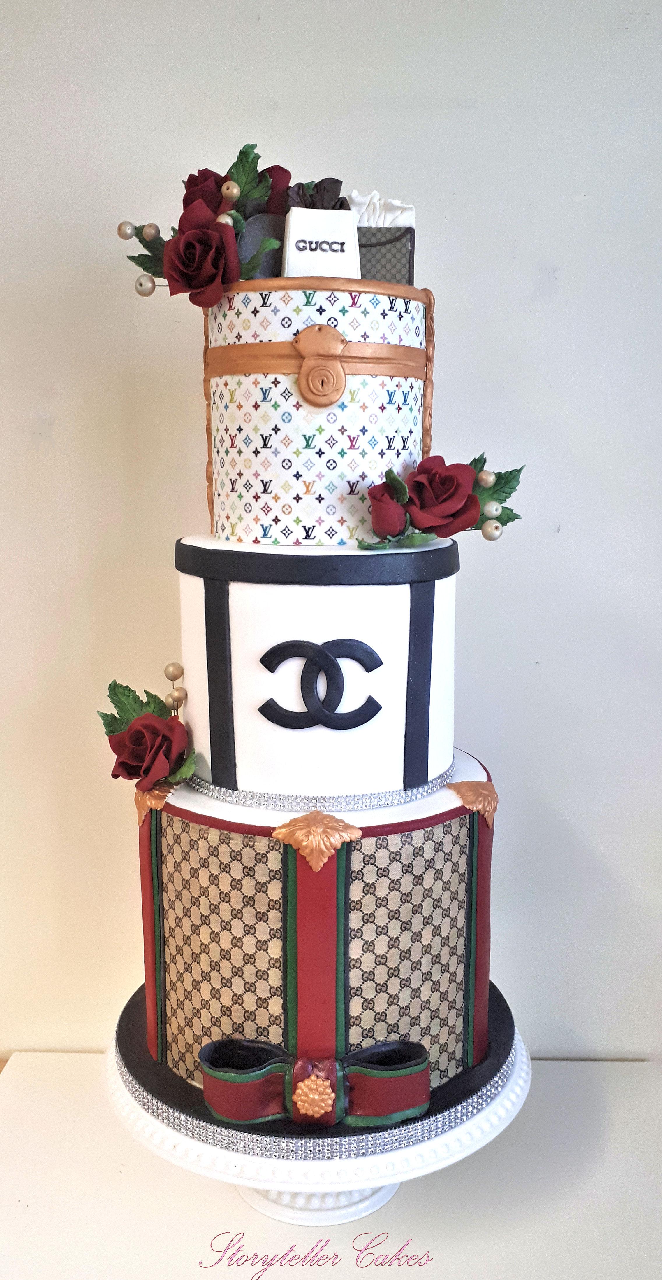 designer label birthday cake