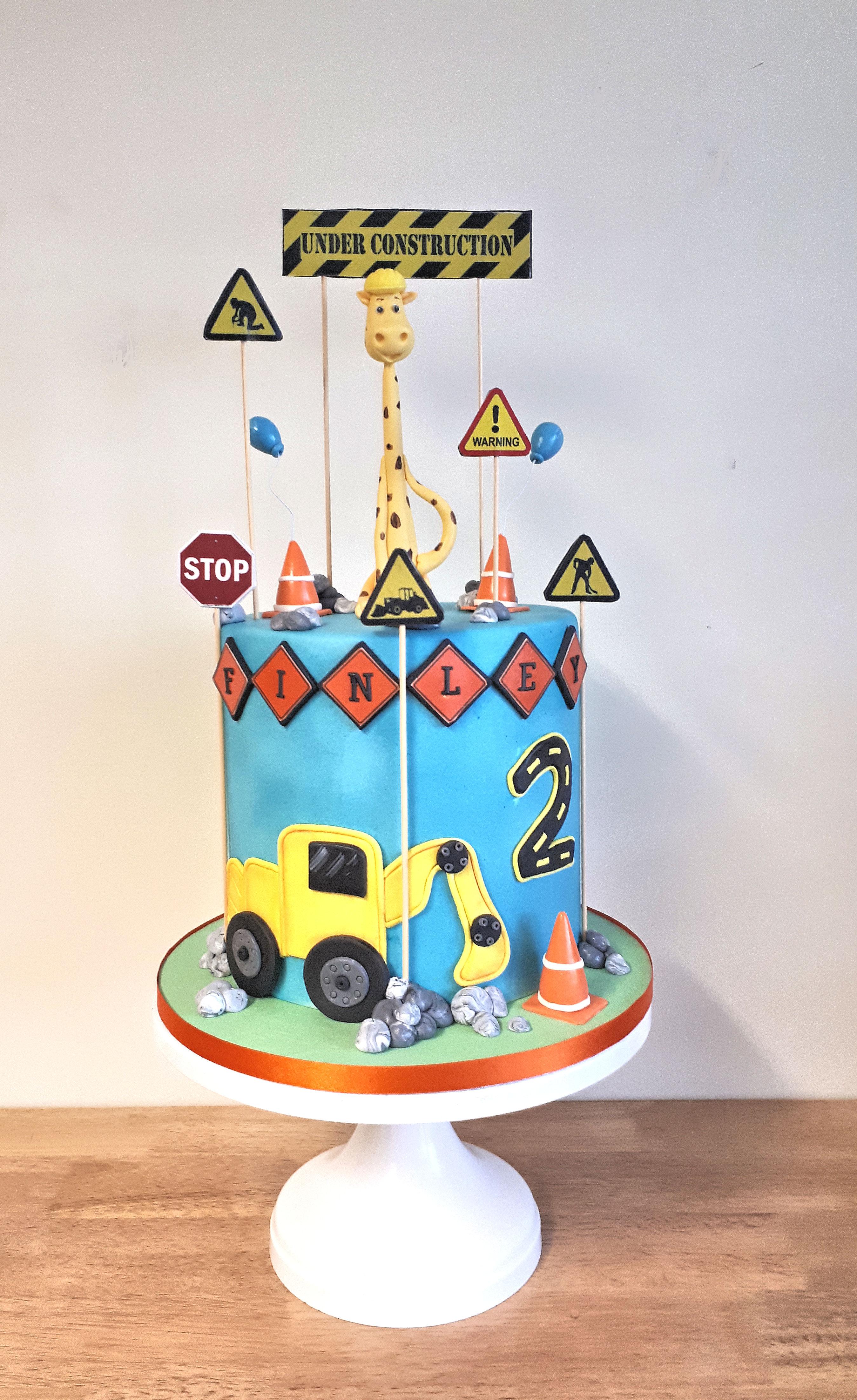 digger giraffe boys birthday cake