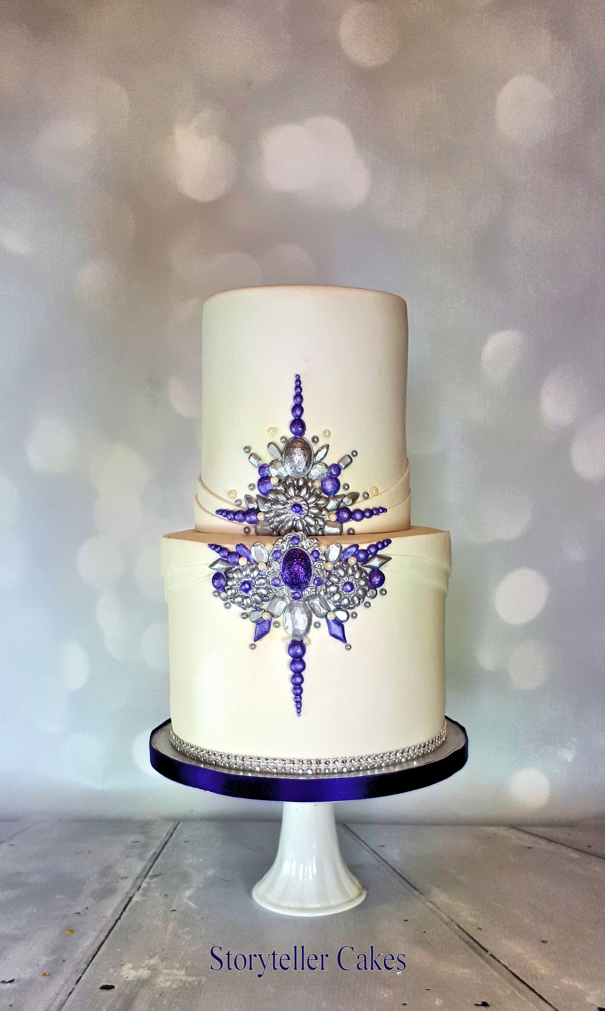 purple and silver jewel cake