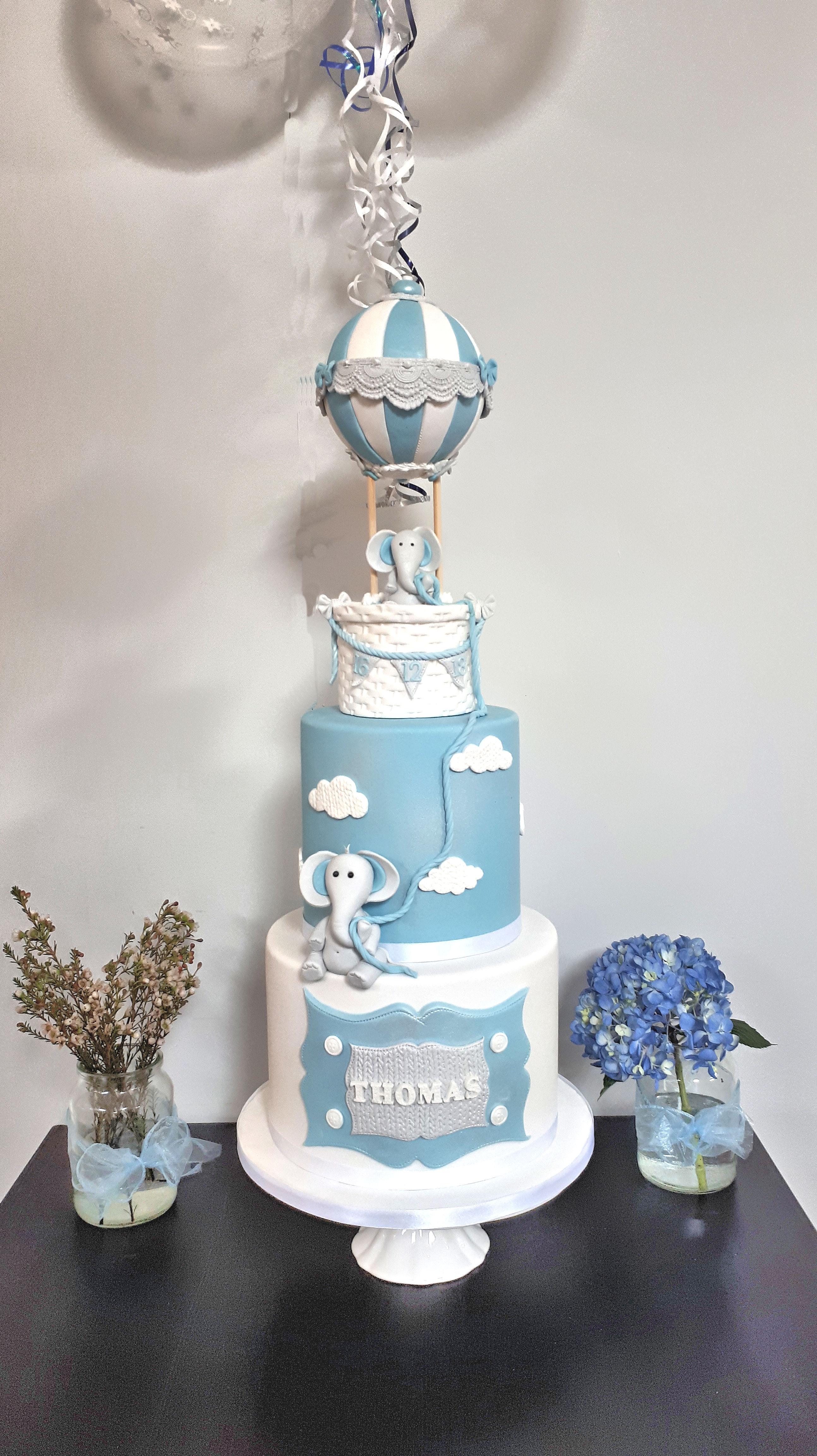 air balloon christening cake