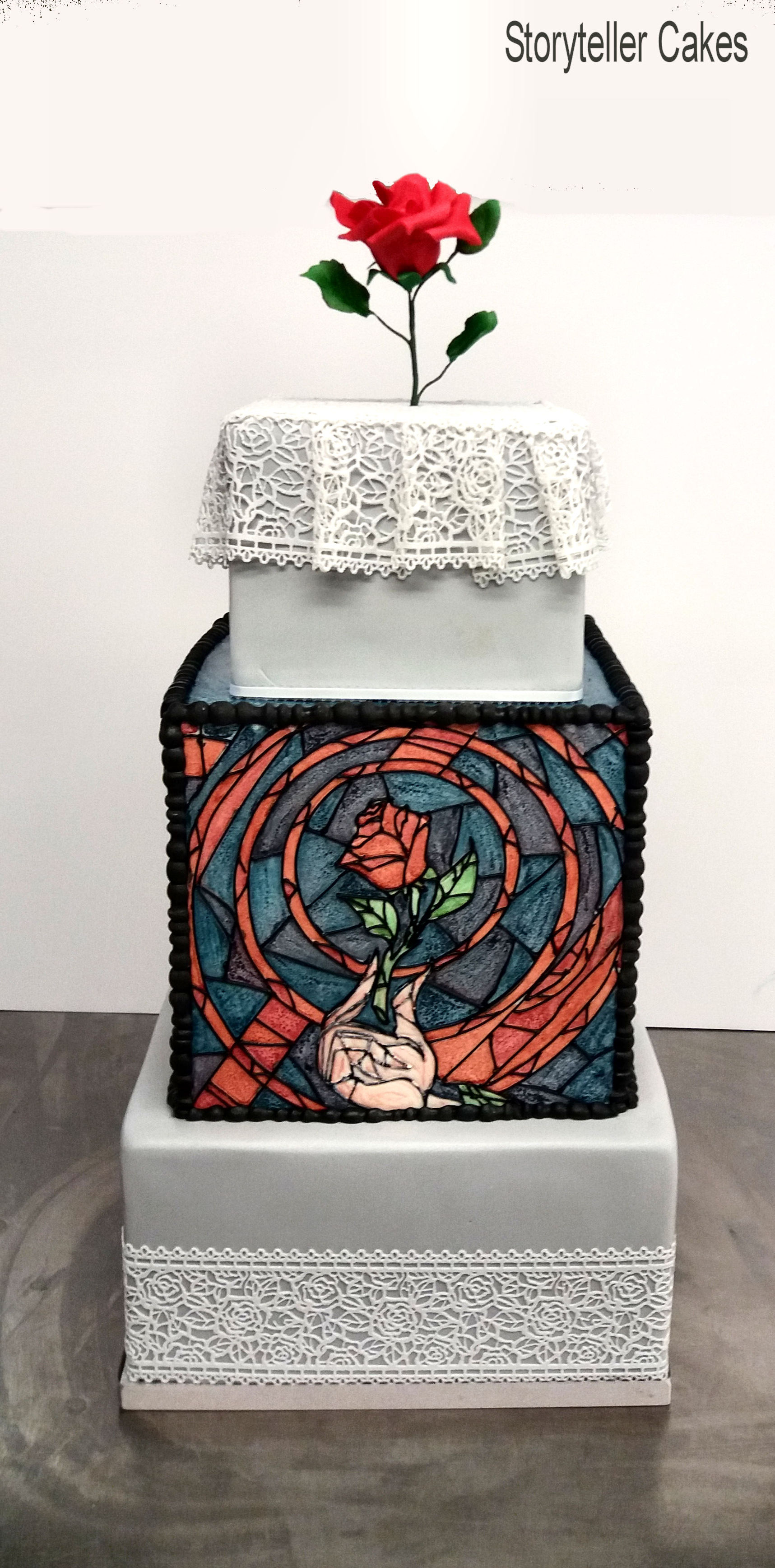 Stain Glass Beauty & The Beast Wedding Cake