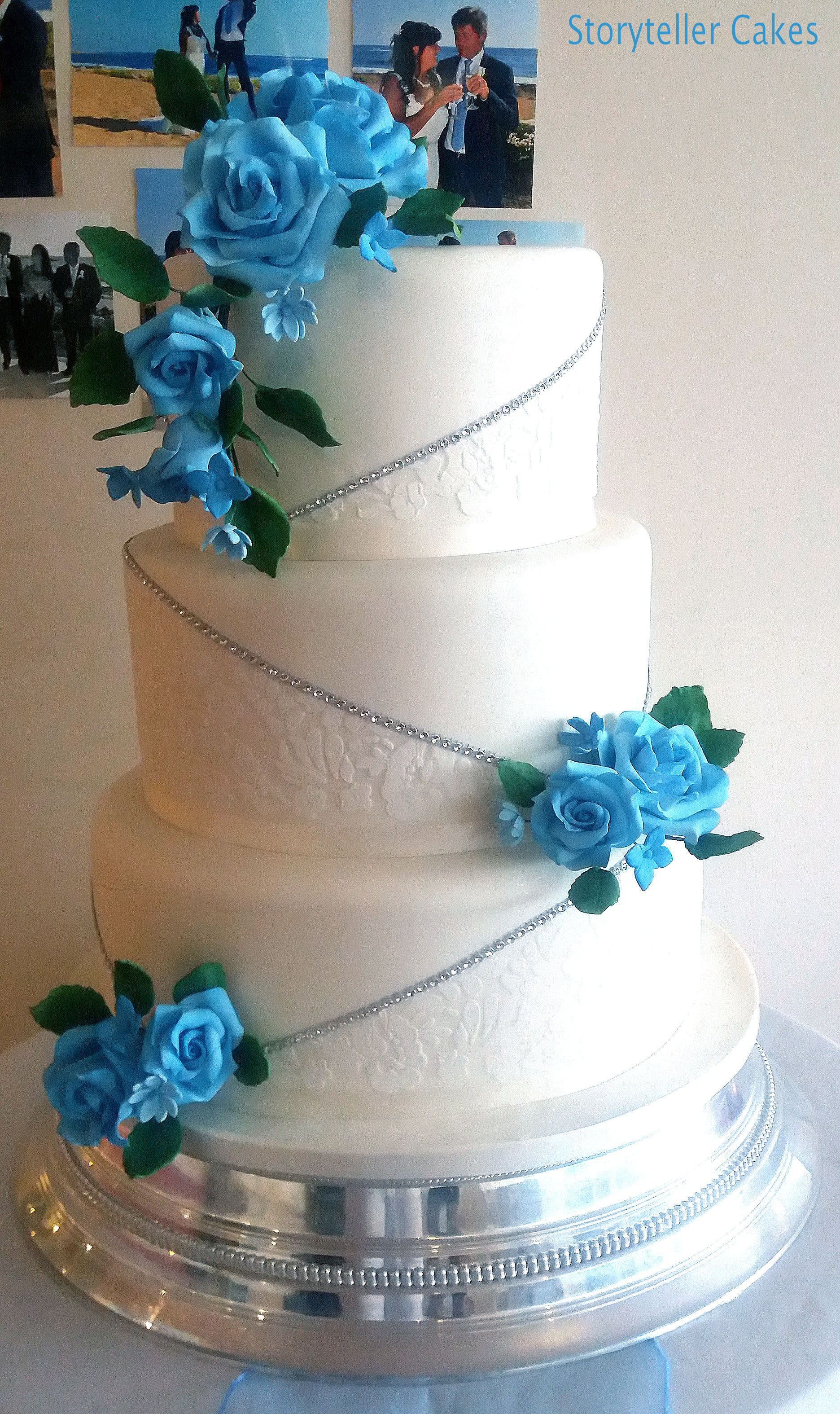 White & Blue Lace Wedding Cake