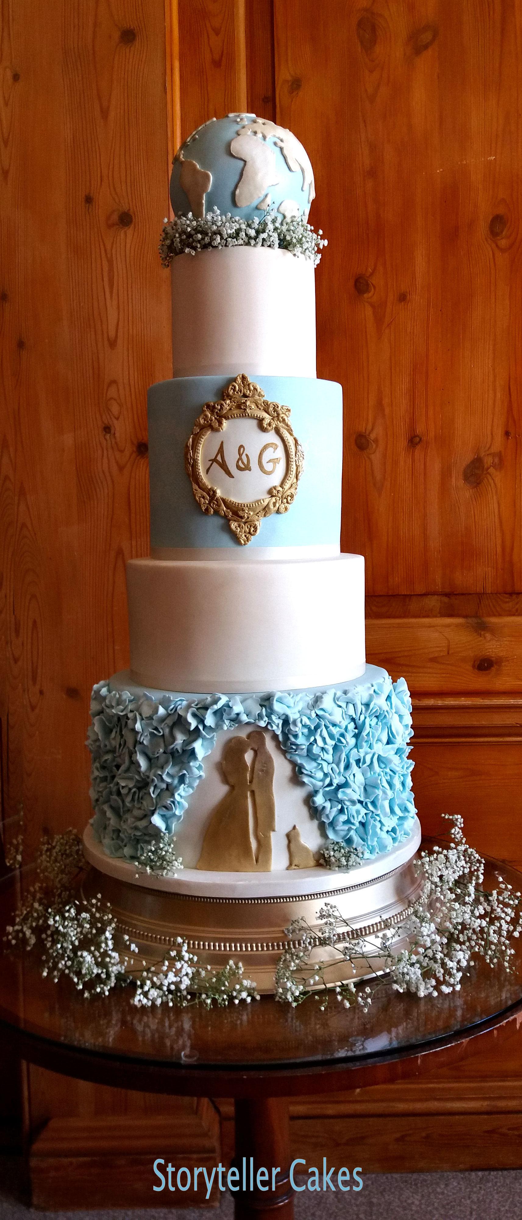 Silhouette & Globe Travel Wedding Cake