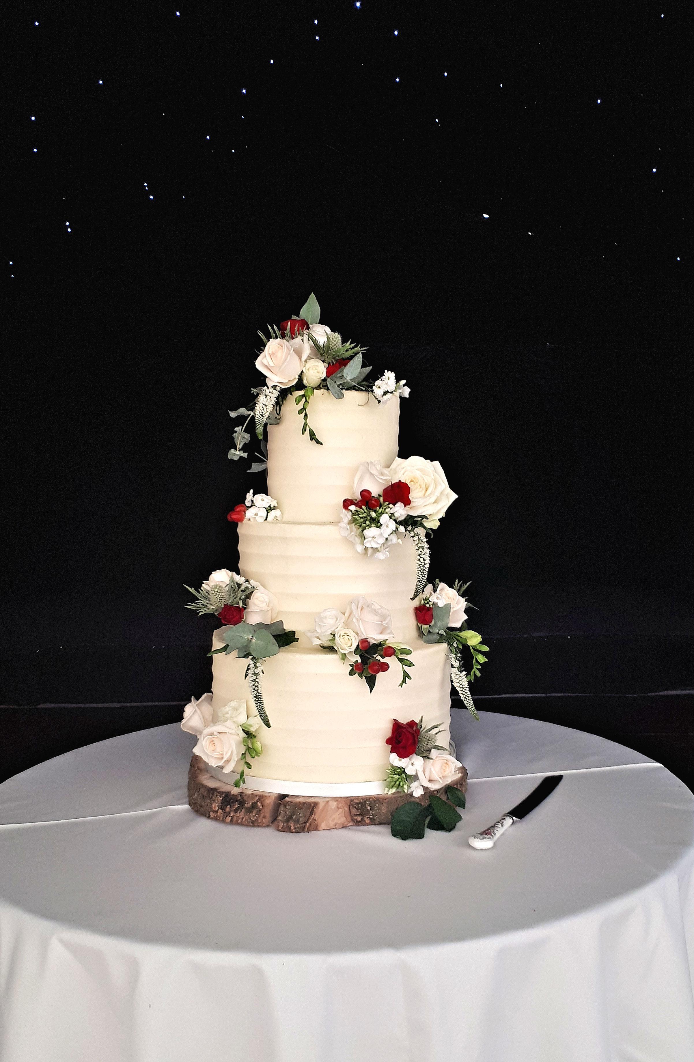 Buttercream Ruffle Fresh Flower Wedding Cake