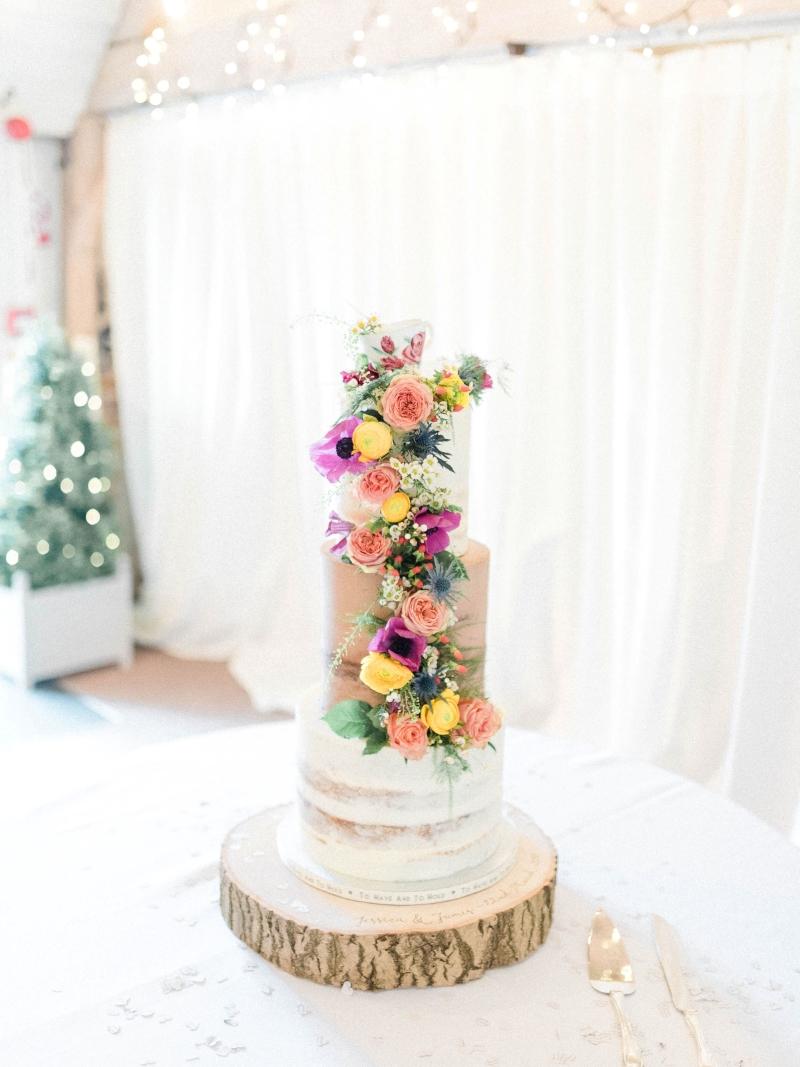 Wild Flower Semi Naked Wedding Cake