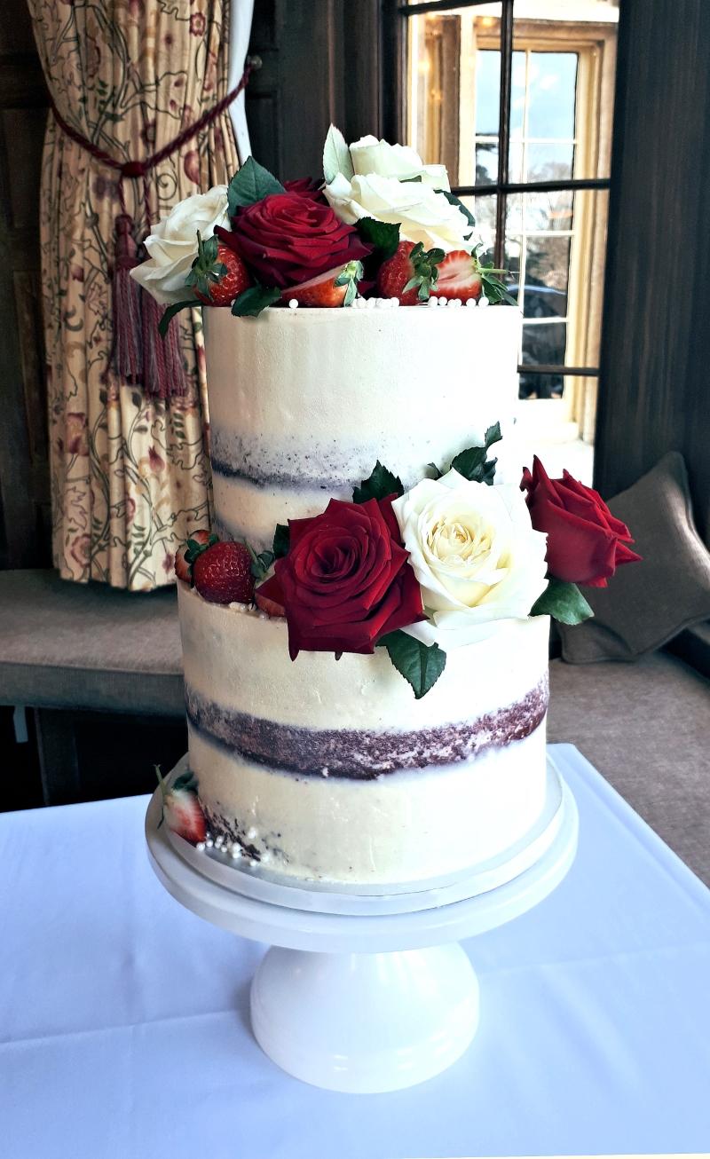 red rose semi naked wedding cake
