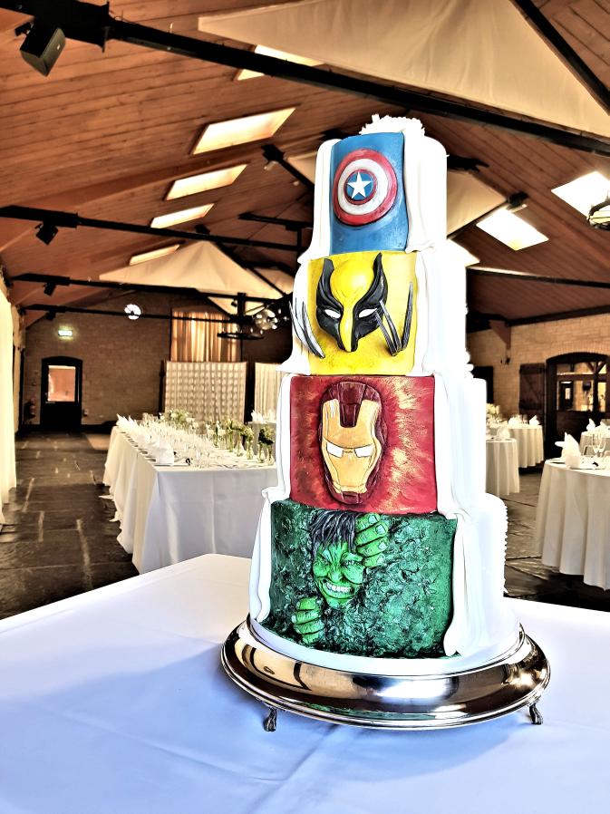 marvel super hero half and half wedding cake