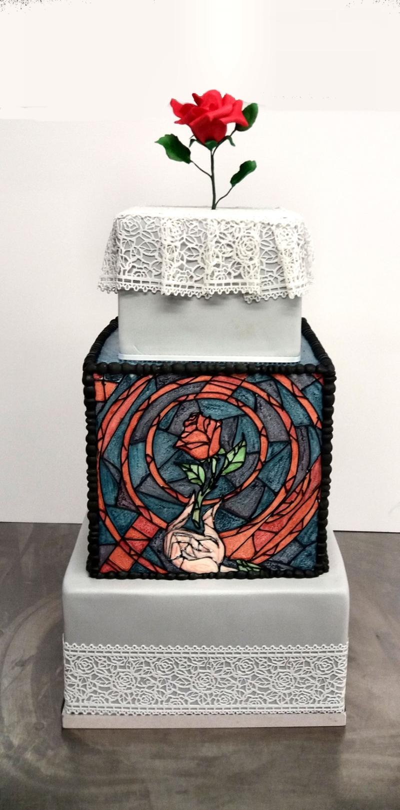 Stain Glass Beauty & The Beast Wedding Cake