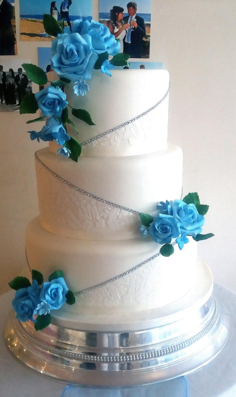 White & Blue Lace Wedding Cake