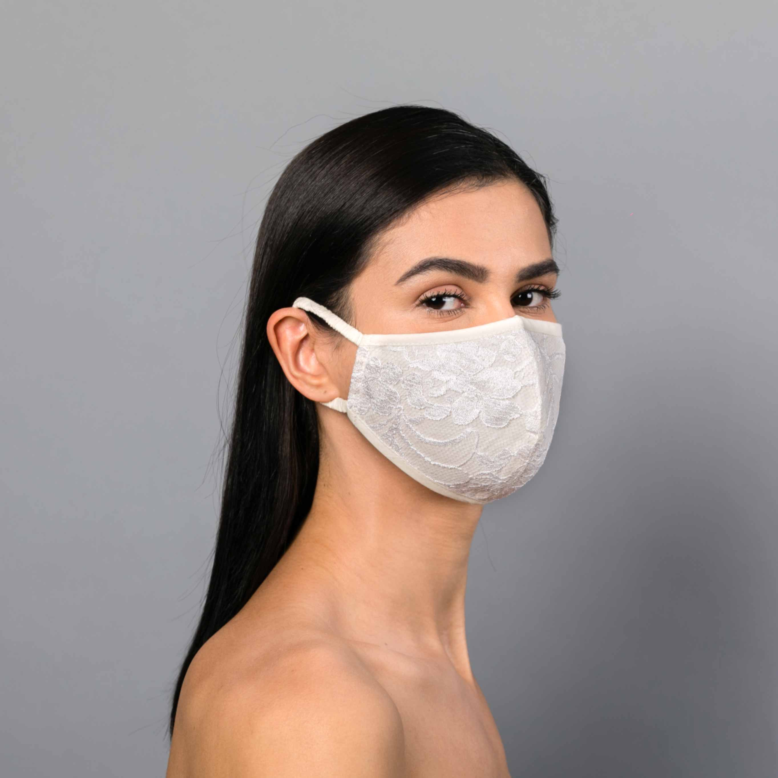 White fitted lace mask
