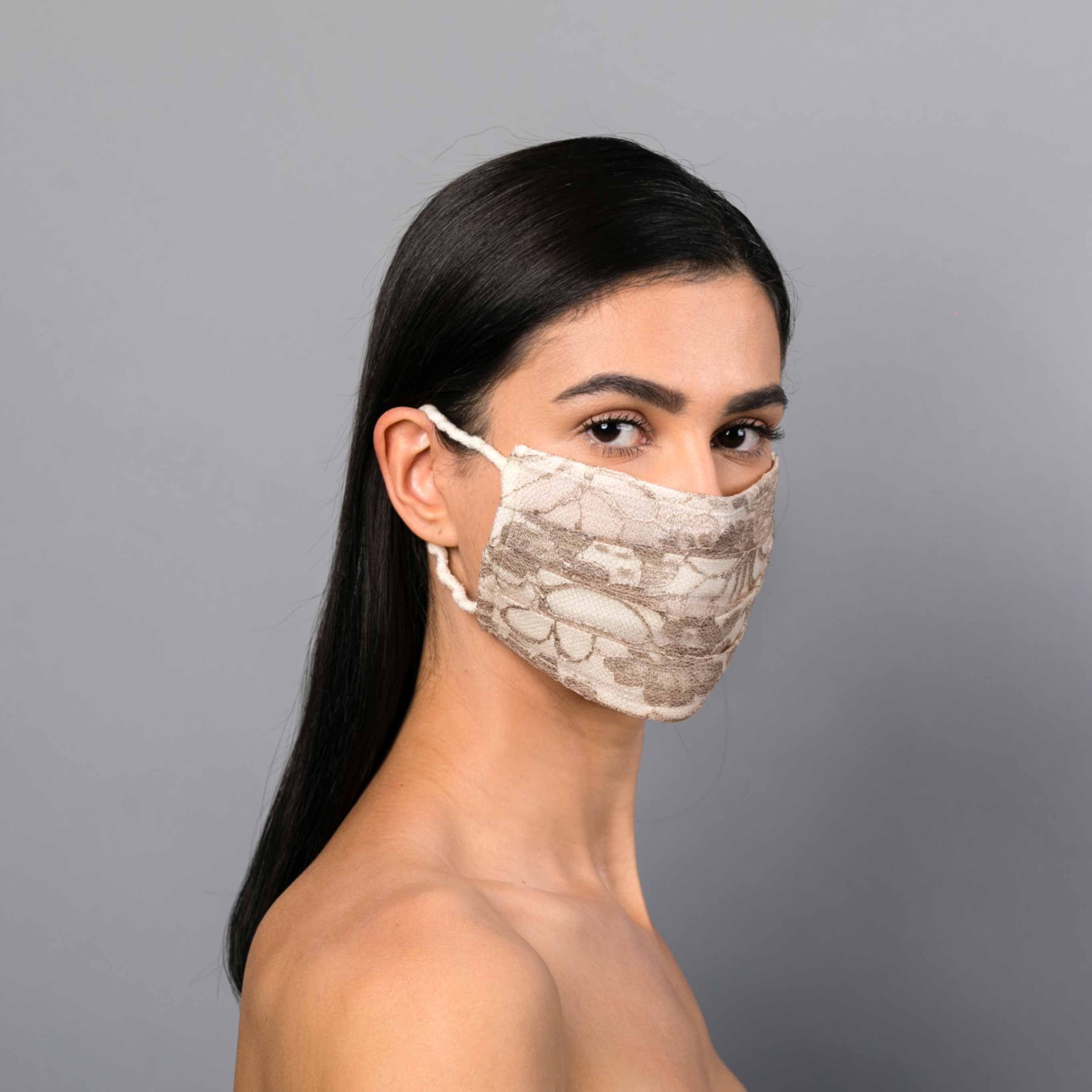 Beige lace mask