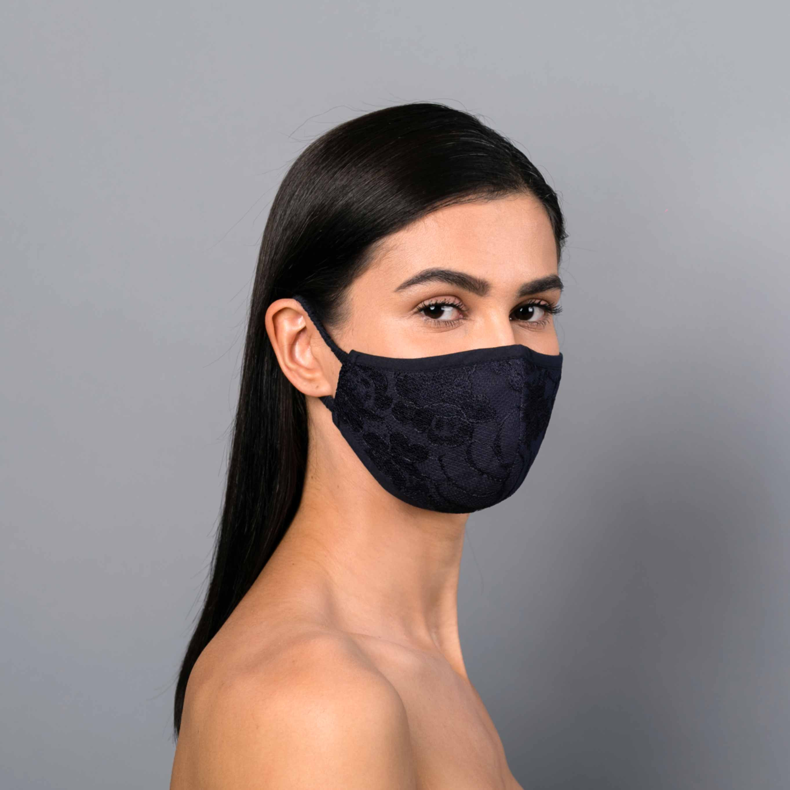 Navy fitted lace mask