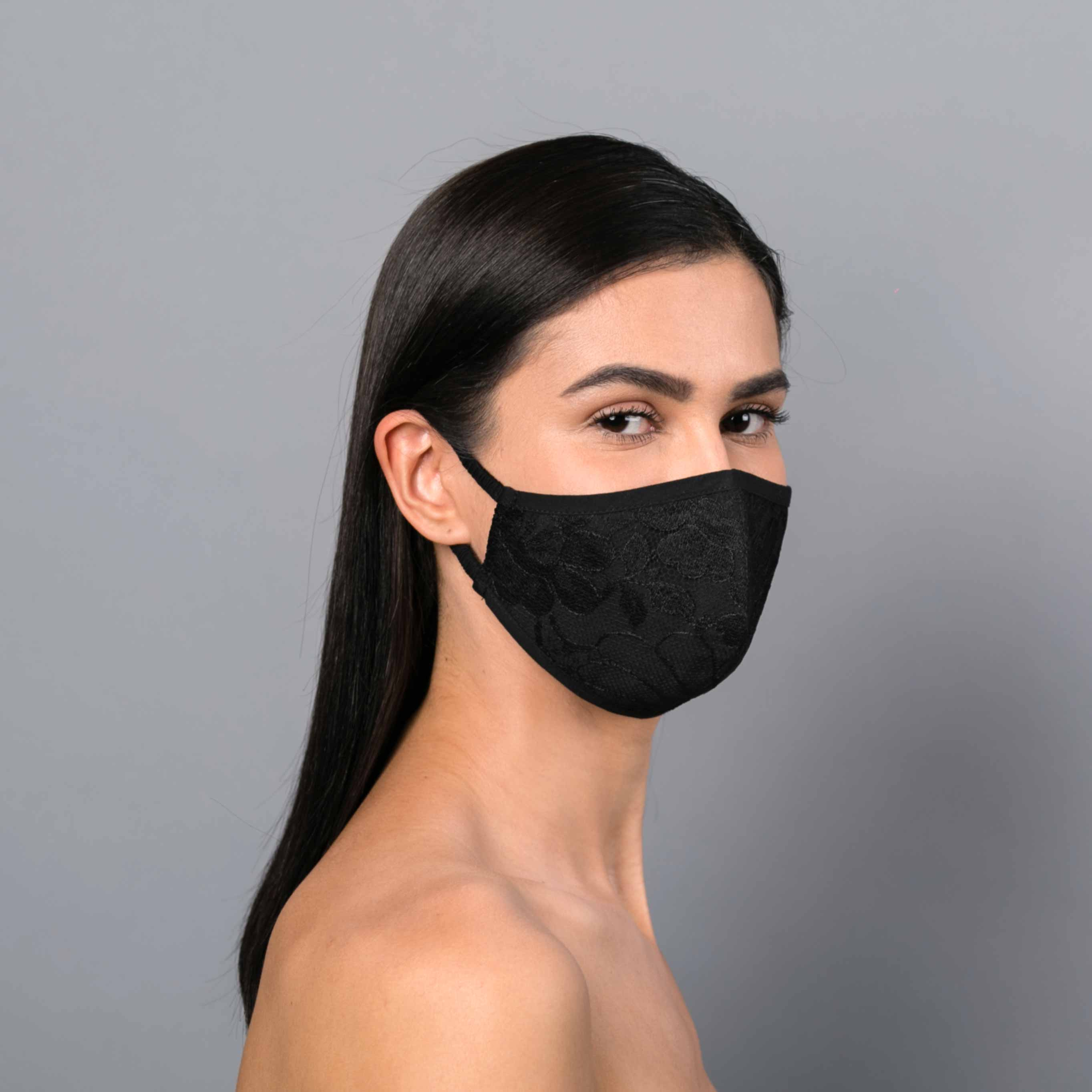 Black fitted lace mask