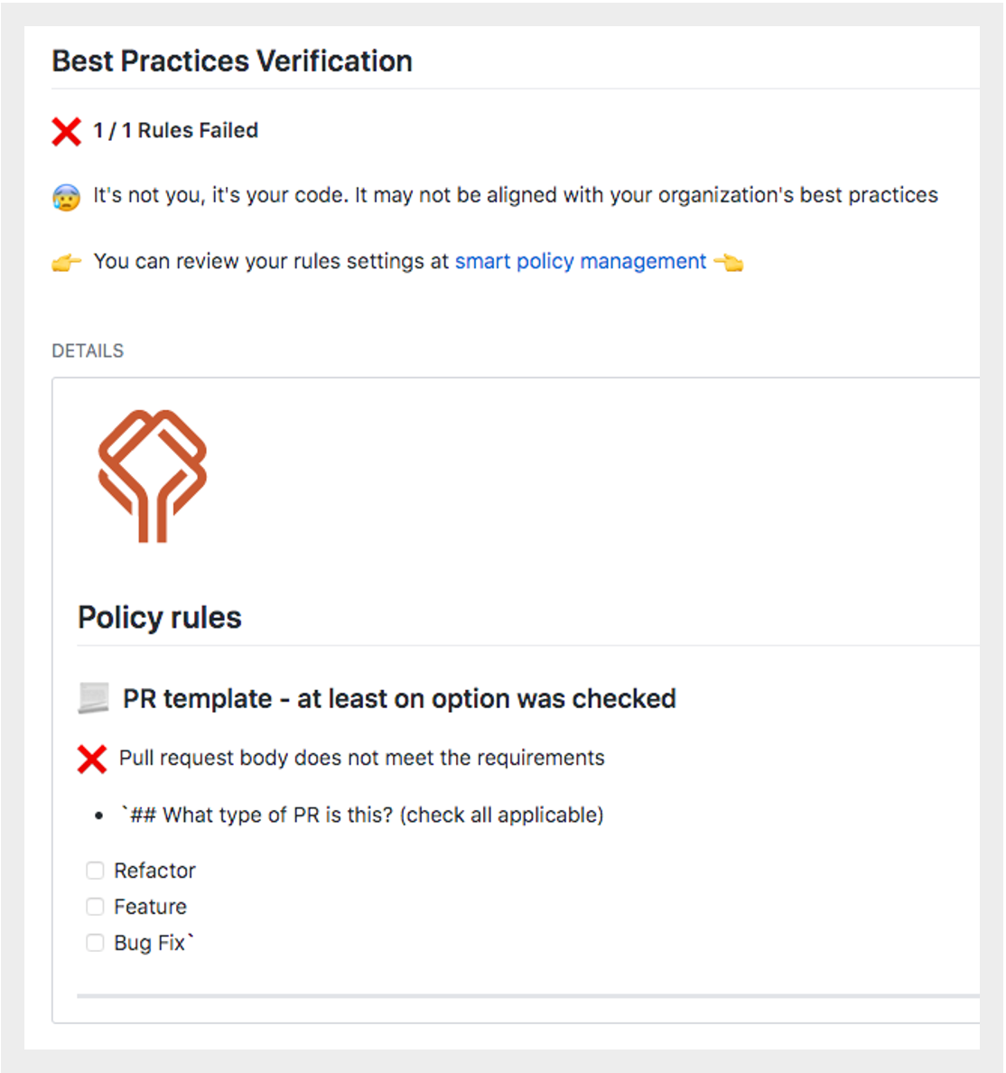 Pull request description check with Datree policy