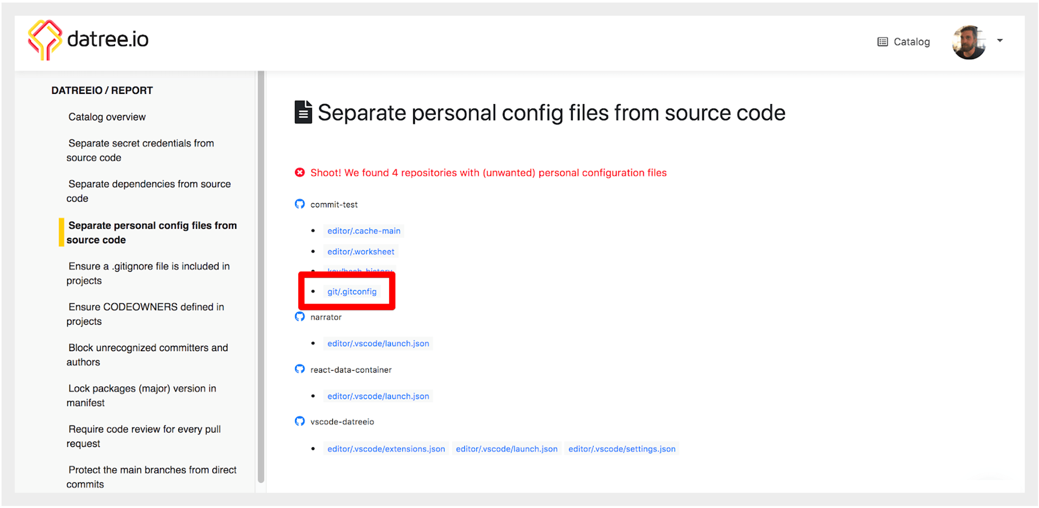 Prevent personal git config files in source control