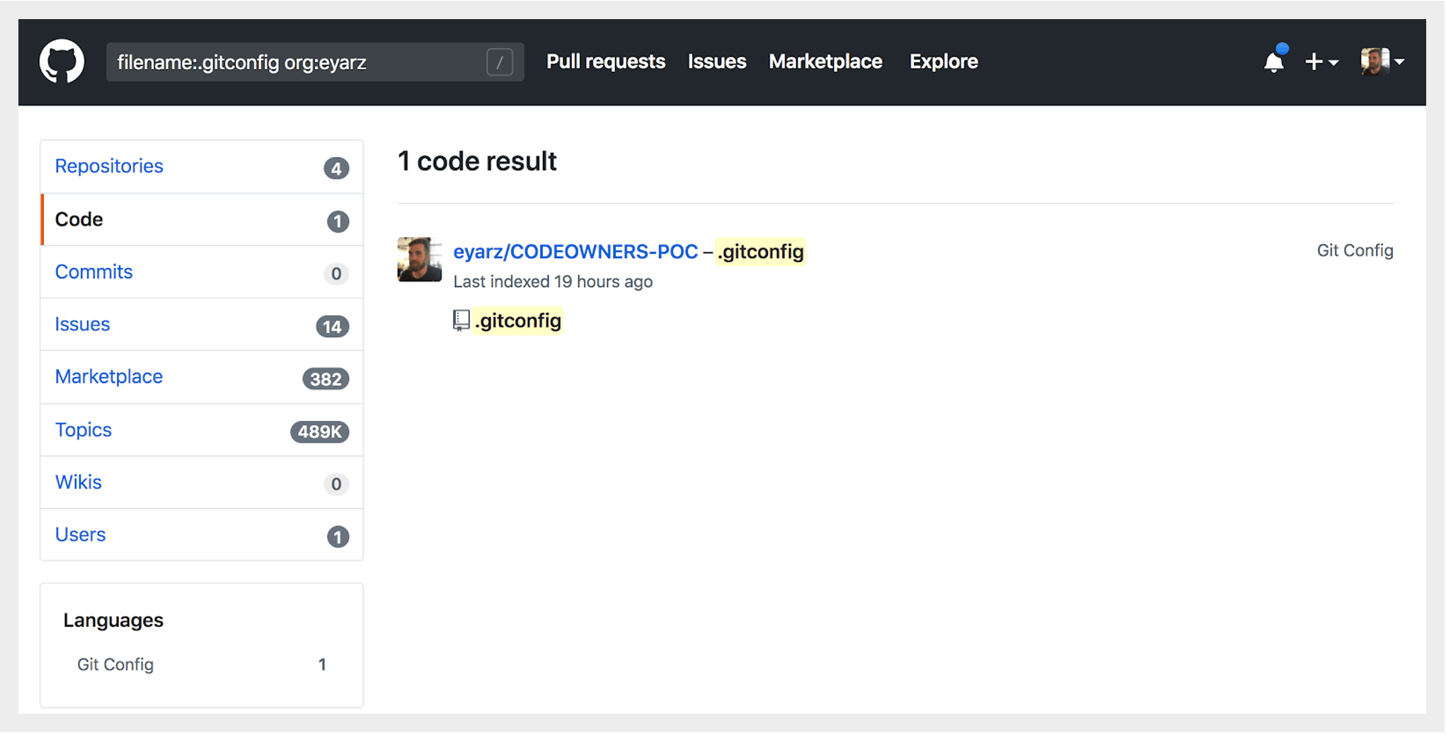 Search for git config files in GitHub