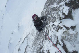 Kate on the top pitch of 'Jetstream' VI,6**, Brown Cove Crags, Helvellyn.