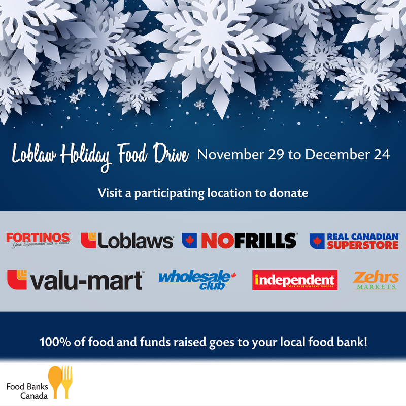 Food Banks Canada Loblaw's Holiday Food Drive 2019