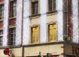 festive lighting on building