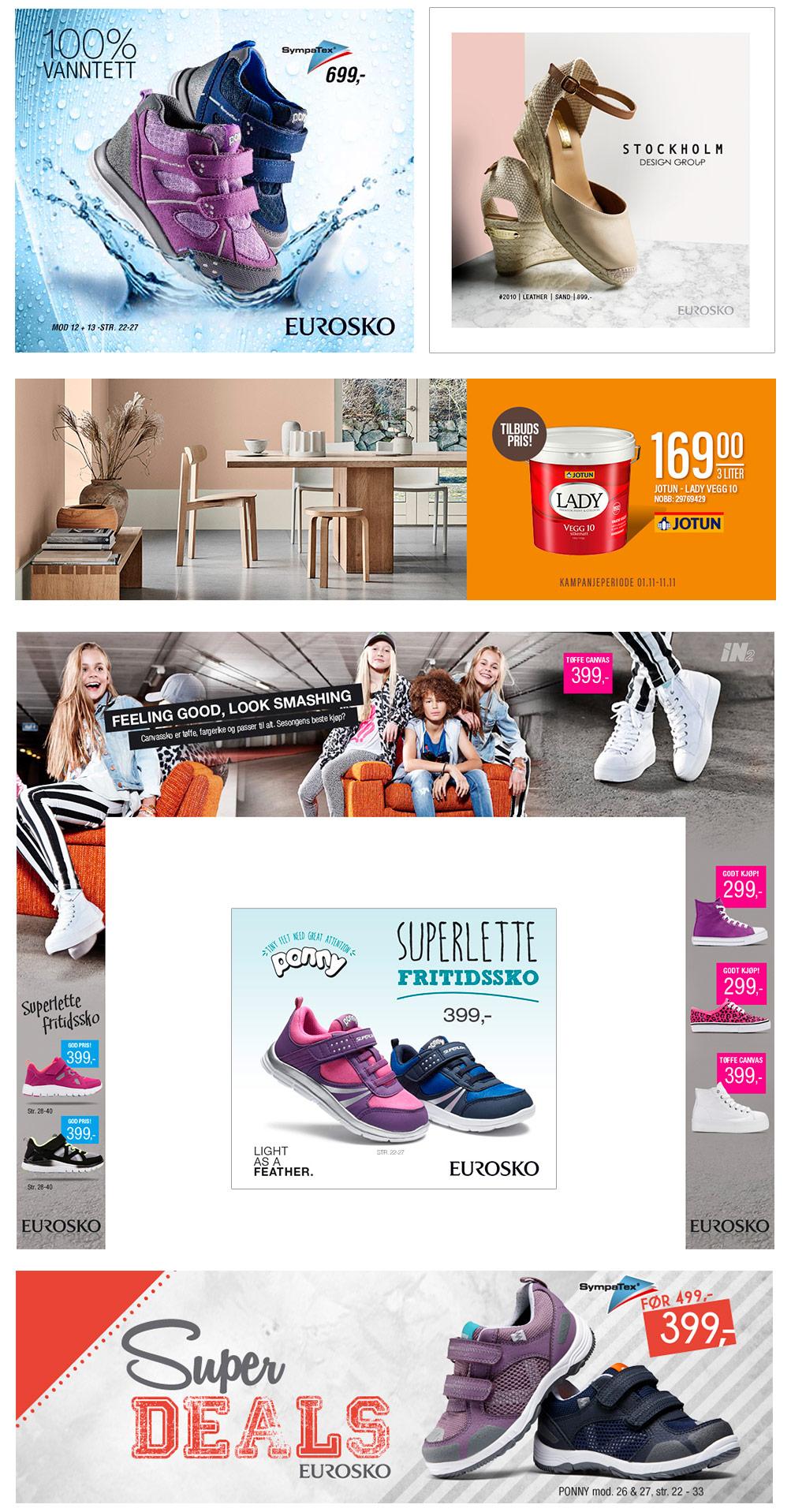 Eksempler på digital reklame av Sanzero Designbyrå