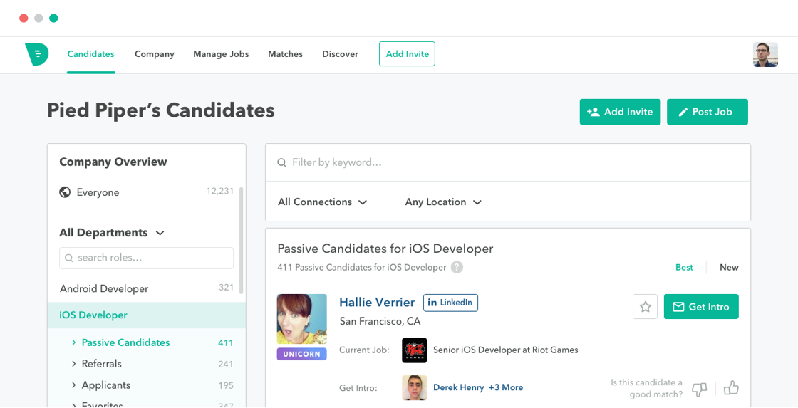 Drafted Referral Candidates Page