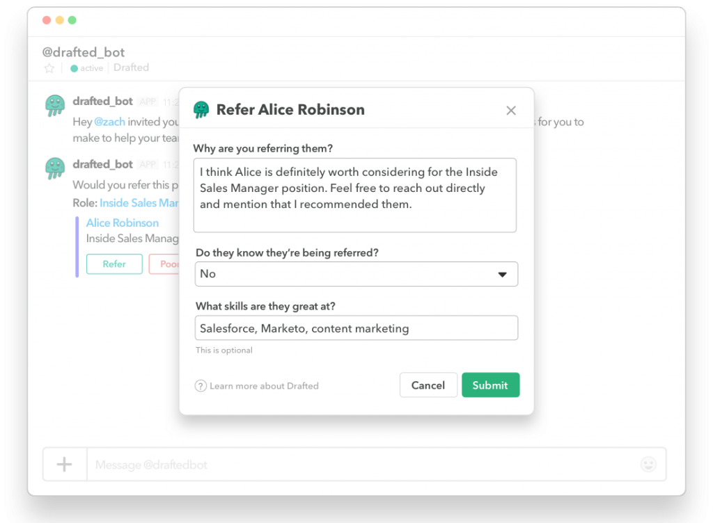 Drafted-slack referral