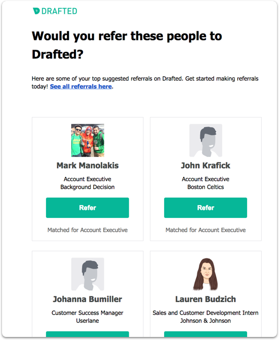 chosen jobs in the weekly referral suggestions email