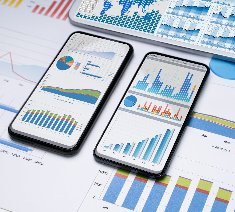 phones showing a graph of data