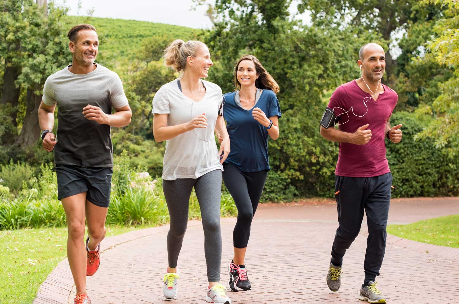 Group of runners fit and healthy