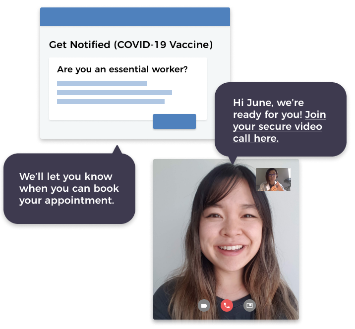 Mockup of MedMe's Virtual Care and Messaging feature.