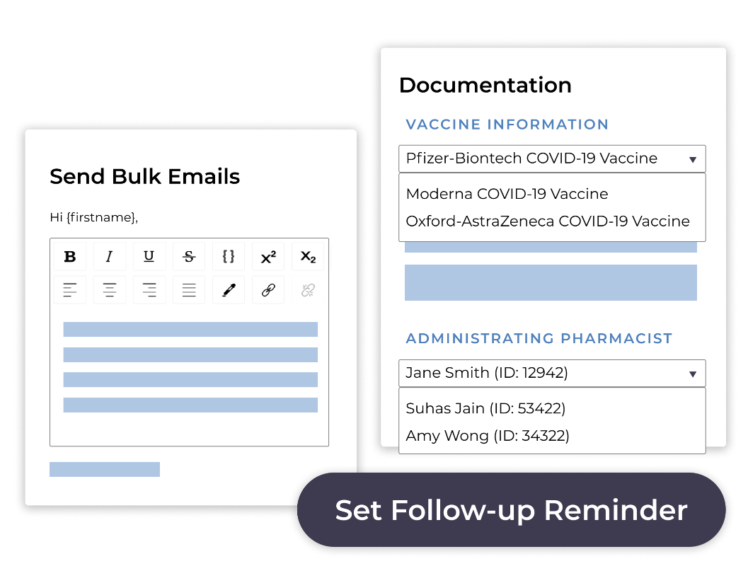 Screenshots of MedMe's Bulk Email and Documentation features