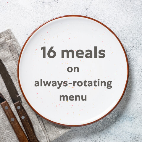 16 meals on always-rotating menu
