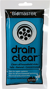 Drain Clear product for outdoor drain blockages in septic system