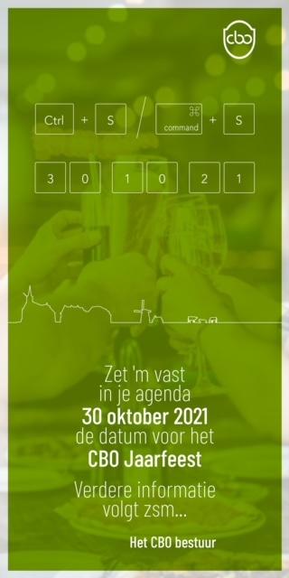 CBO jaarfeest 30 oktober 2021 geannuleerd