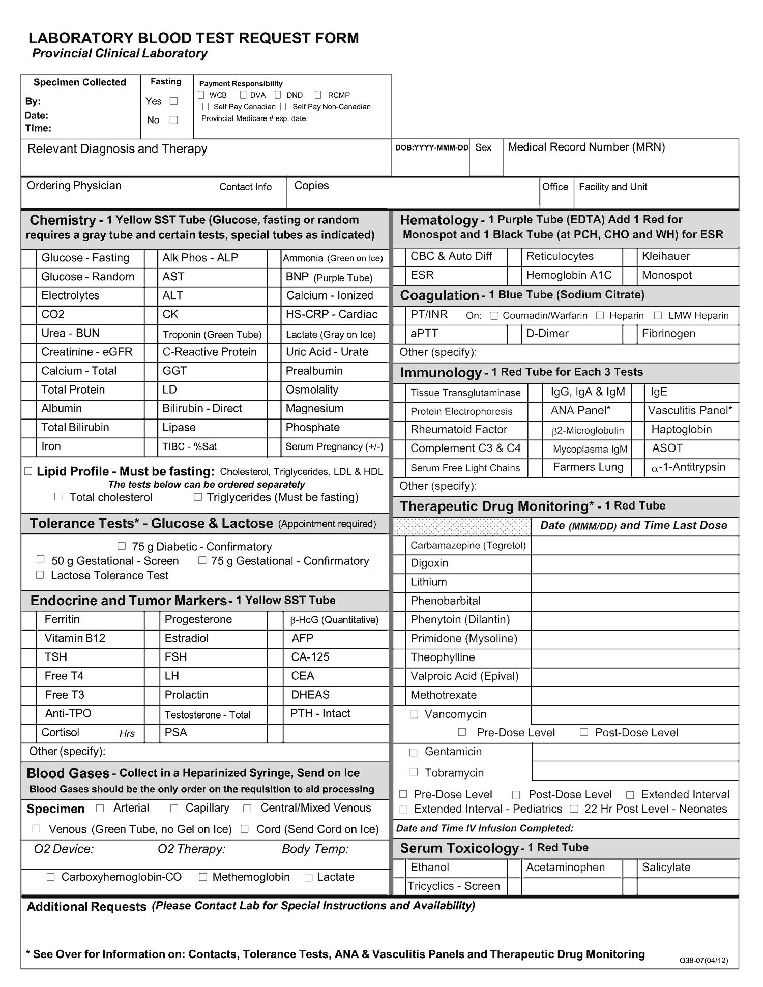 Formulaire de demande d'analyse sanguine en laboratoire