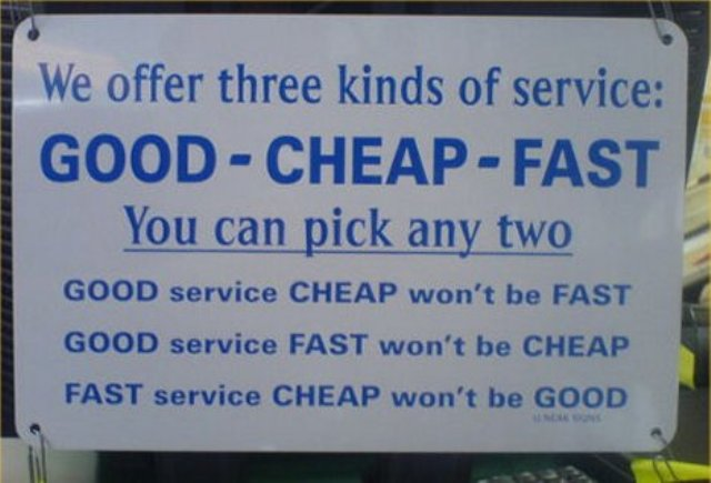Better, faster, cheaper is the paradox of procurement.