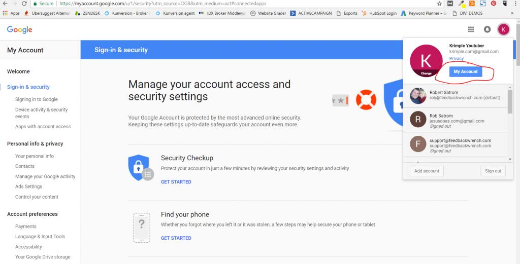 Gmail để triển khai cài đặt sửa lỗi bật lên để truy cập ứng dụng kém an toàn hơn - nút tài khoản của tôi